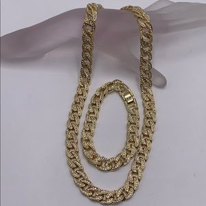 cuban links with cubic zirconia, gold plated